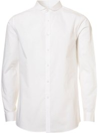WHITE CURVE COLLAR LONG SLEEVE SMART SHIRT