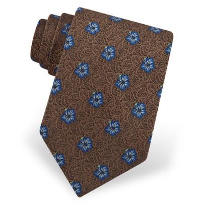 brown-microfiber-plumeria-floral-tie