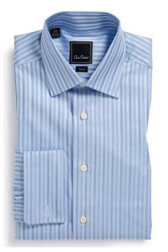 David Donahue Trim Fit Dress Shirt - Blue stripes