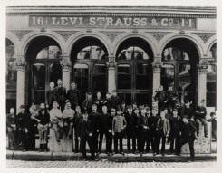 The staff of Levi Strauss & Co. poses proudly in the 1880s, lined up in front of the multi-storied headquarters, home to the wholesale dry goods business and the ever-expanding trade in the famous jeans, jackets, and work shirts made just a few blocks away at the company's factory. About twenty years later, this building would survive the earthquake of April 18, 1906, but not the firestorm which followed.