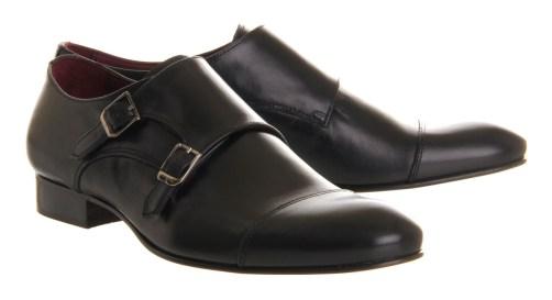Black Double Monk Shoe