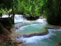 One of the gorgeous pools on the way to Kuang Si Falls