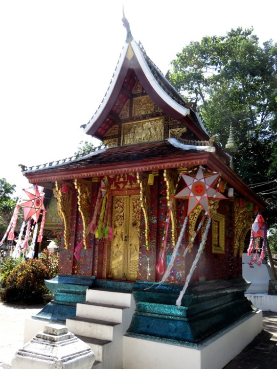 One of the many gorgeous structures on the grounds of Wat Xieng Thong