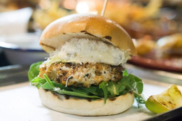 The Black Monk - Cajun Seasoned Monkfish, Thick Caper & Bacon Mayo, White Cheddar, Shredded Cabbage & a Wedge of Grilled Lime