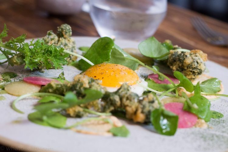 Grilled Sprouting Broccoli, Smoked Cod's Roe, Watermelon Radish, Wild Garlic Yogurt and Fried Egg