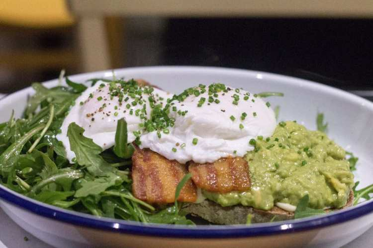 Avocado, rocket, smoked bacon and poached eggs