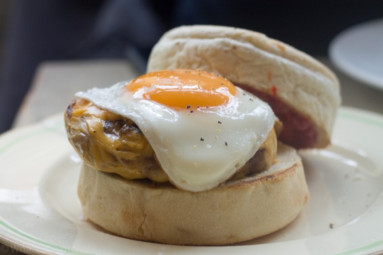 Eggbreak McMuffin - sausage patty, American cheese, 9 Fried egg and hot sauce