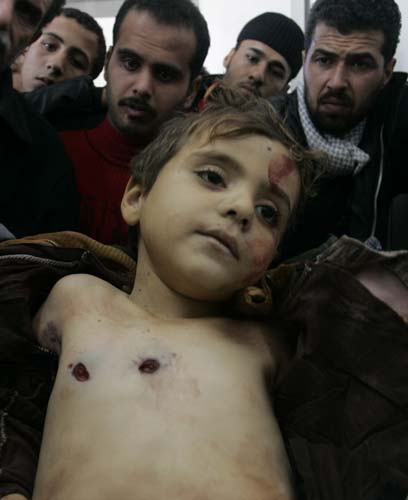 A Gazan child killed during Israel's attack.
