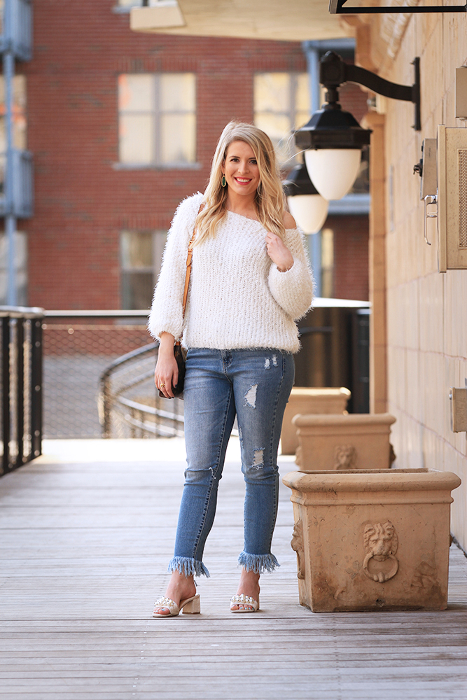 Fuzzy Sweater & Pearl Mules