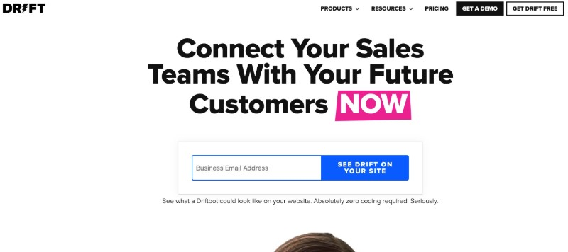 Drift   - Live Chat Software for Customer Support