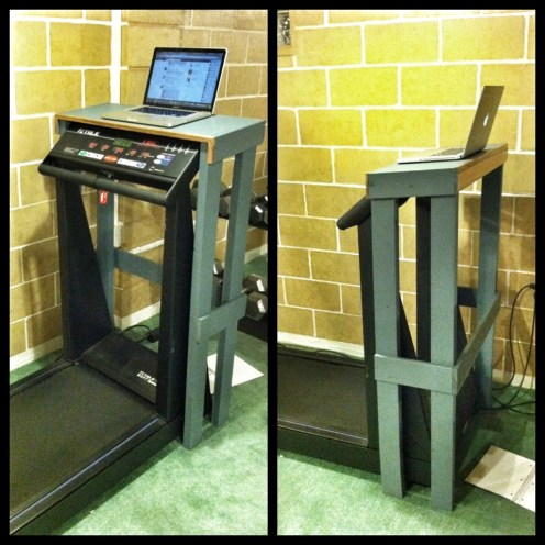 laptop holder wooden on a treadmill