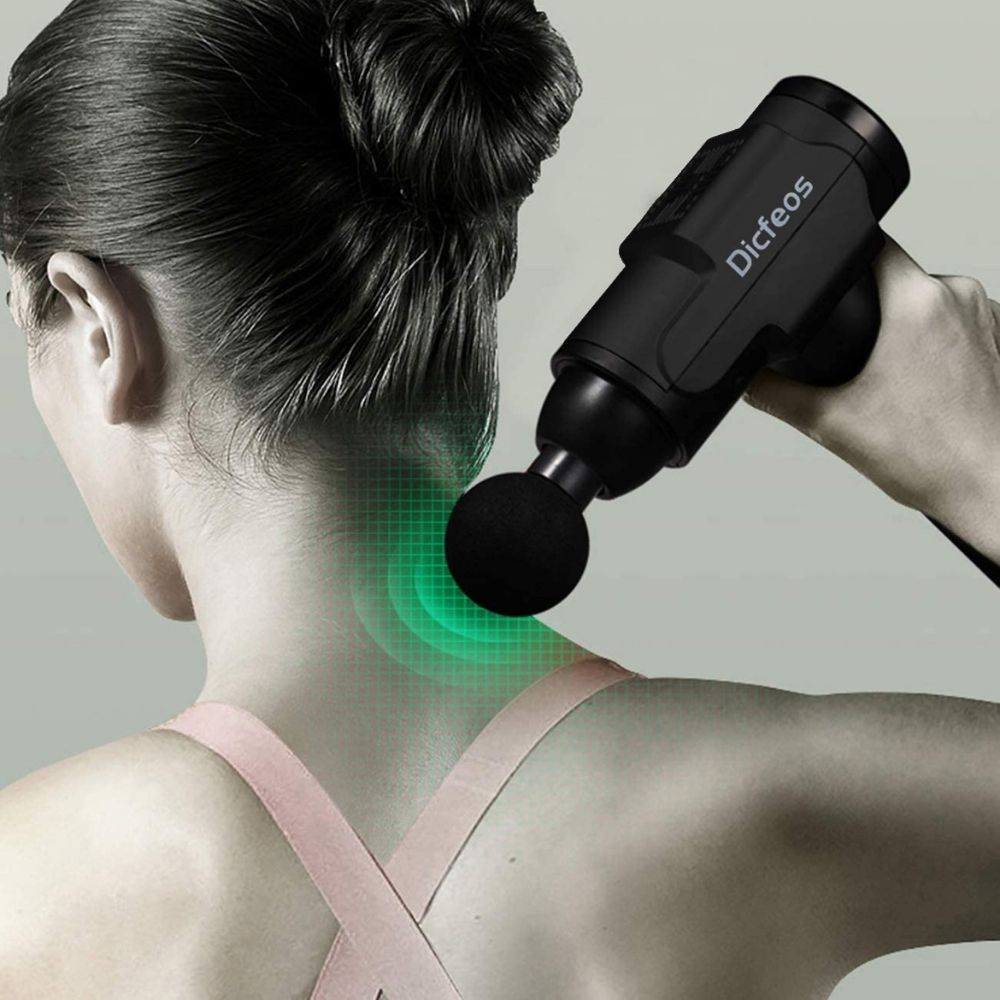 Dicfeos Massage Gun, Handheld Massage Gun with 6 Heads, Easy Operation and Lightweight, Long Working Time, 30 Speeds