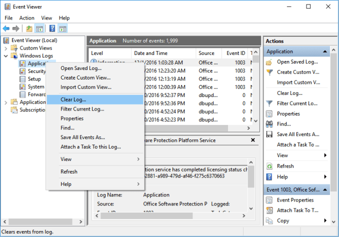 Clear Application Event Viewer log to fix svchost.exe high cpu problem