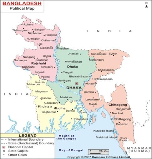National Map of Bangladesh