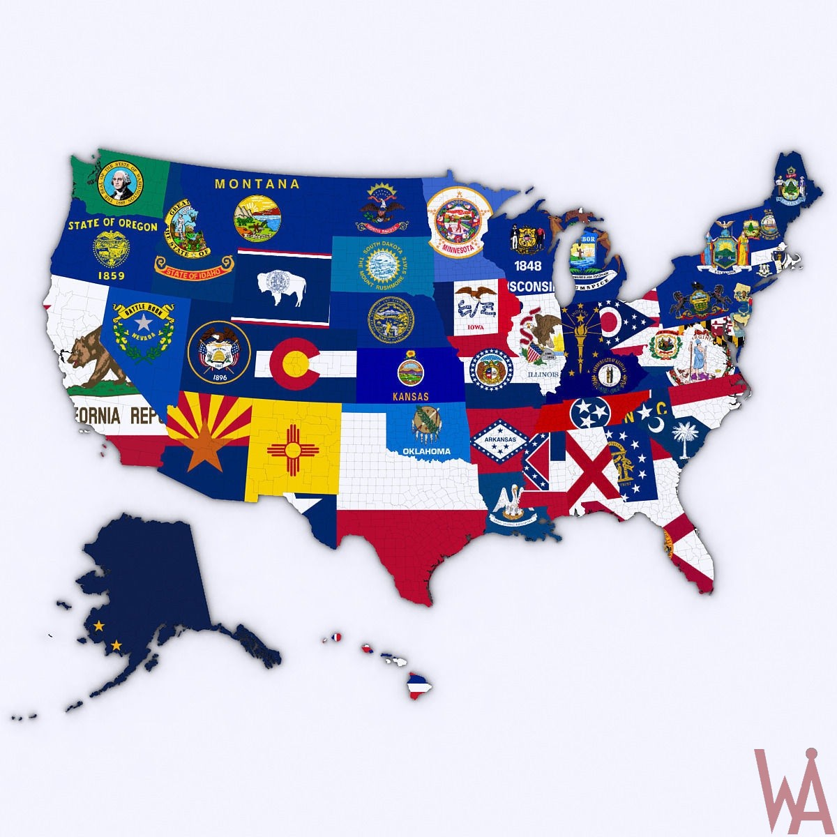 3d political map of usa