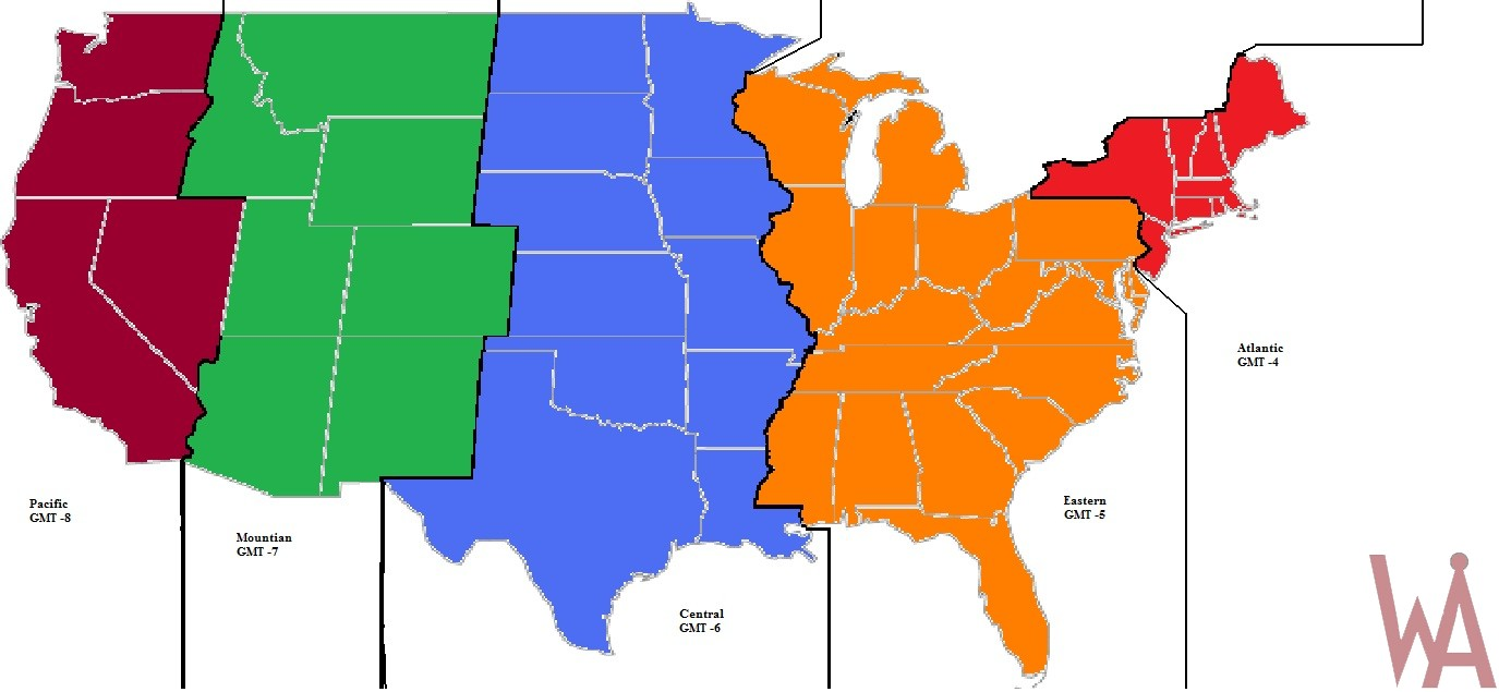 Alternate time zones map of the USA
