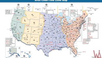 The Map of Time Zone & Area Code of the USA | WhatsAnswer Area Code Time Zone on