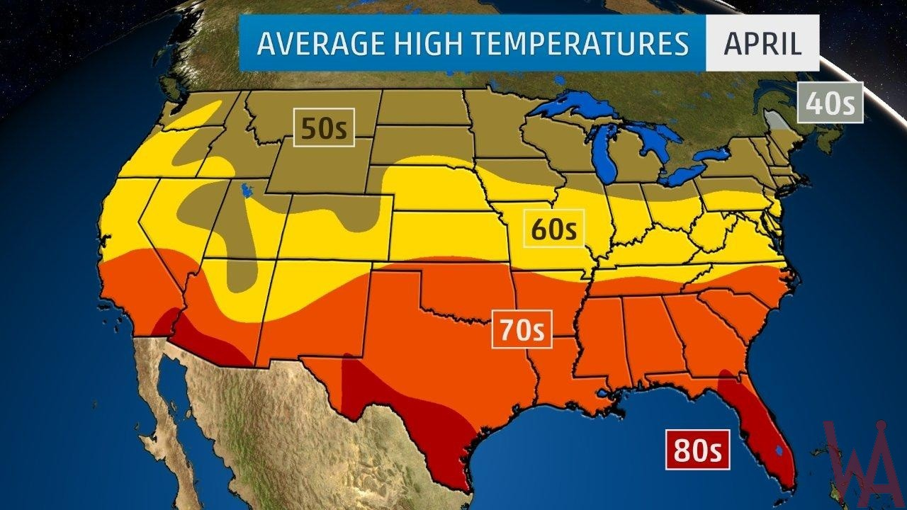 Average High Temperature Of The Us April Whatsanswer - Map-of-temperatures-in-the-us