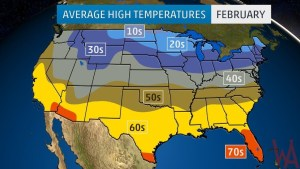 Average High Temperature of the US February