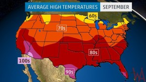 Average High Temperature of the US September