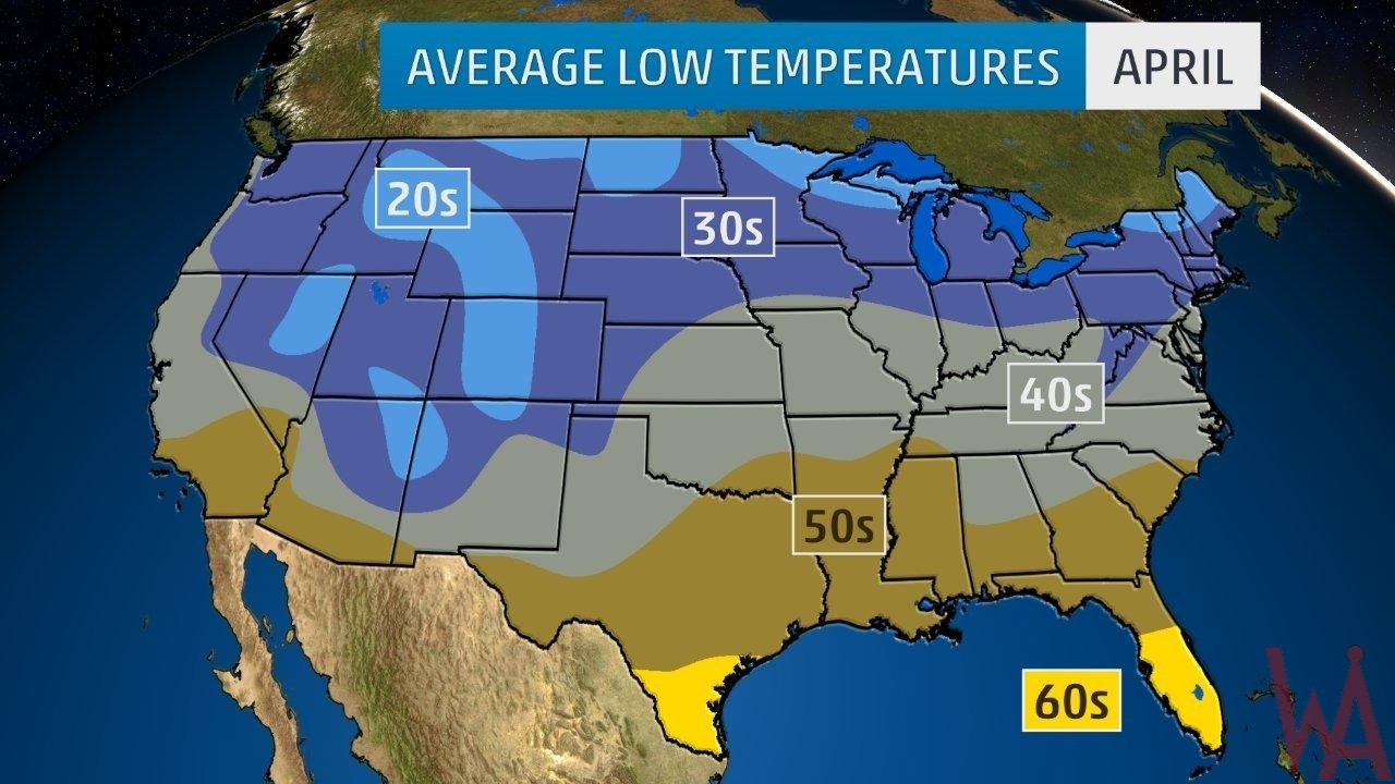 Average Low Temperature of the US April