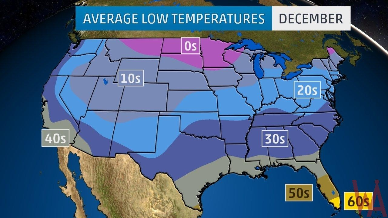 Us Temperature Map December Average Low Temperature Map of the US In December | WhatsAnswer