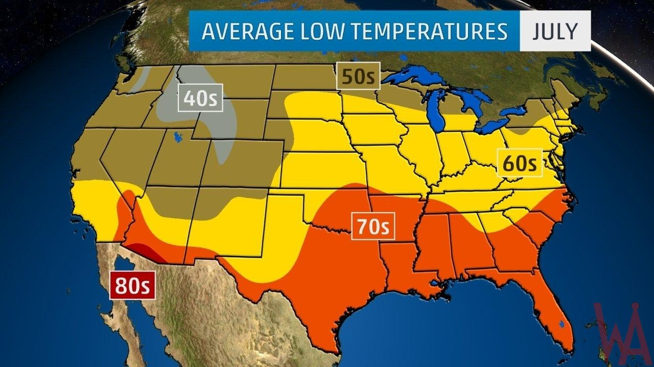 Temperature maps of The USA | WhatsAnswer on