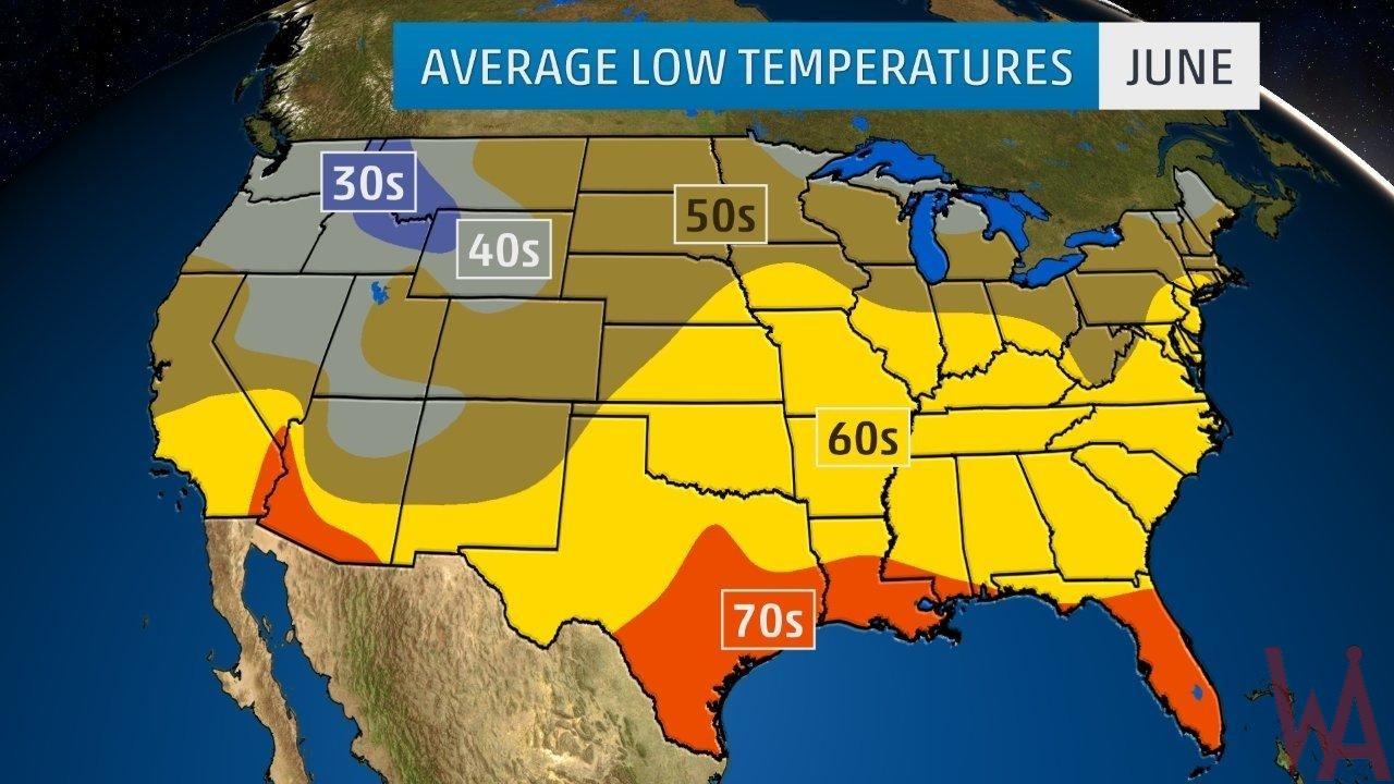 Average Low Temperature of the US June