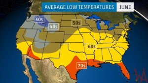 Average Low Temperature of the US June