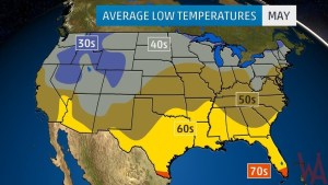 Average Low Temperature of the US May