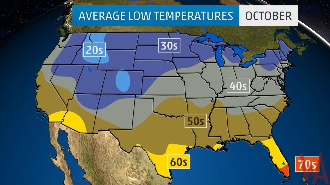 Average Low Temperature of the US October