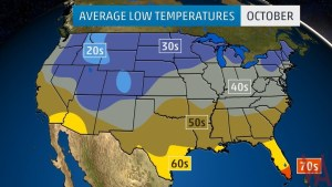 Average Low Temperature Map of the US In October