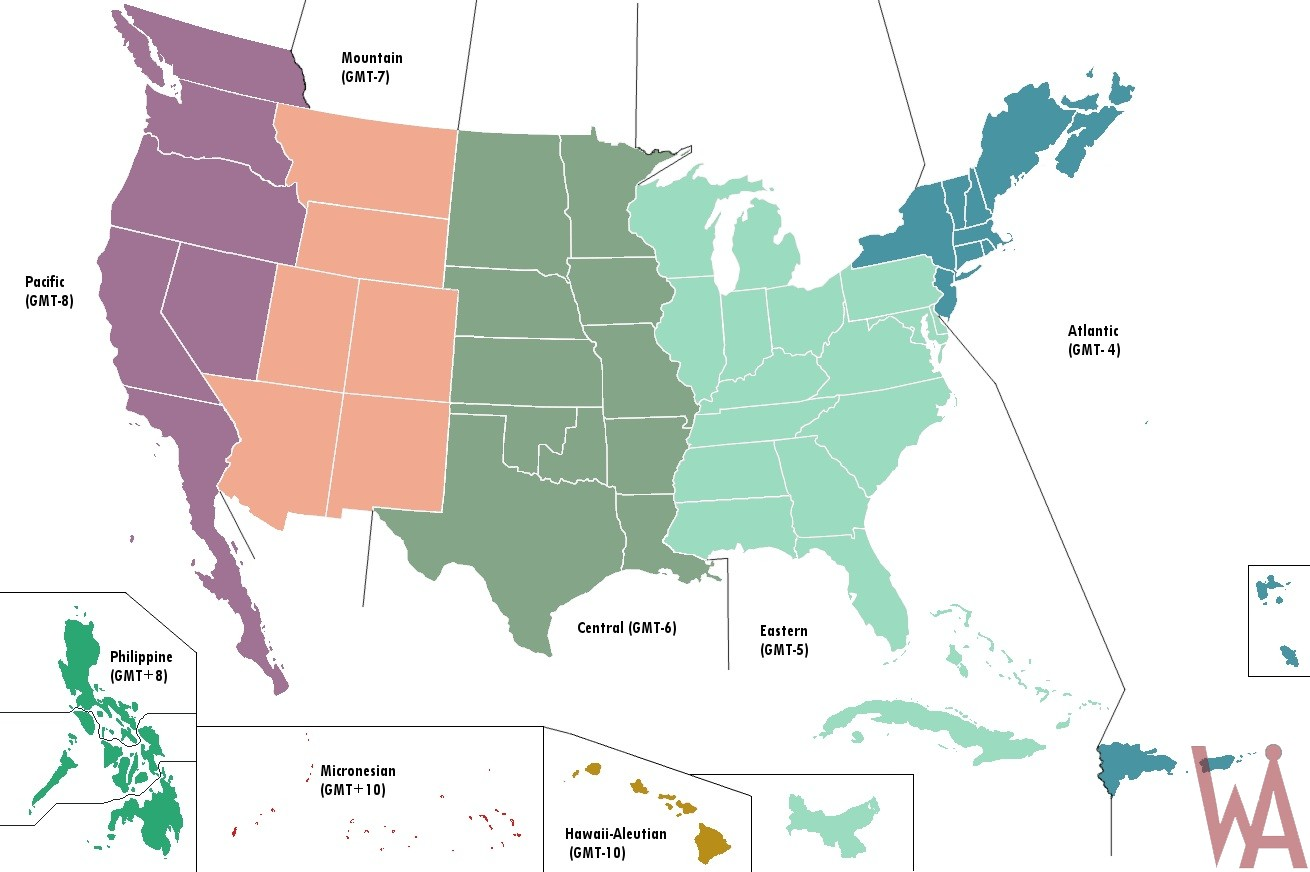 Blank & Labeled time zone map of the USA