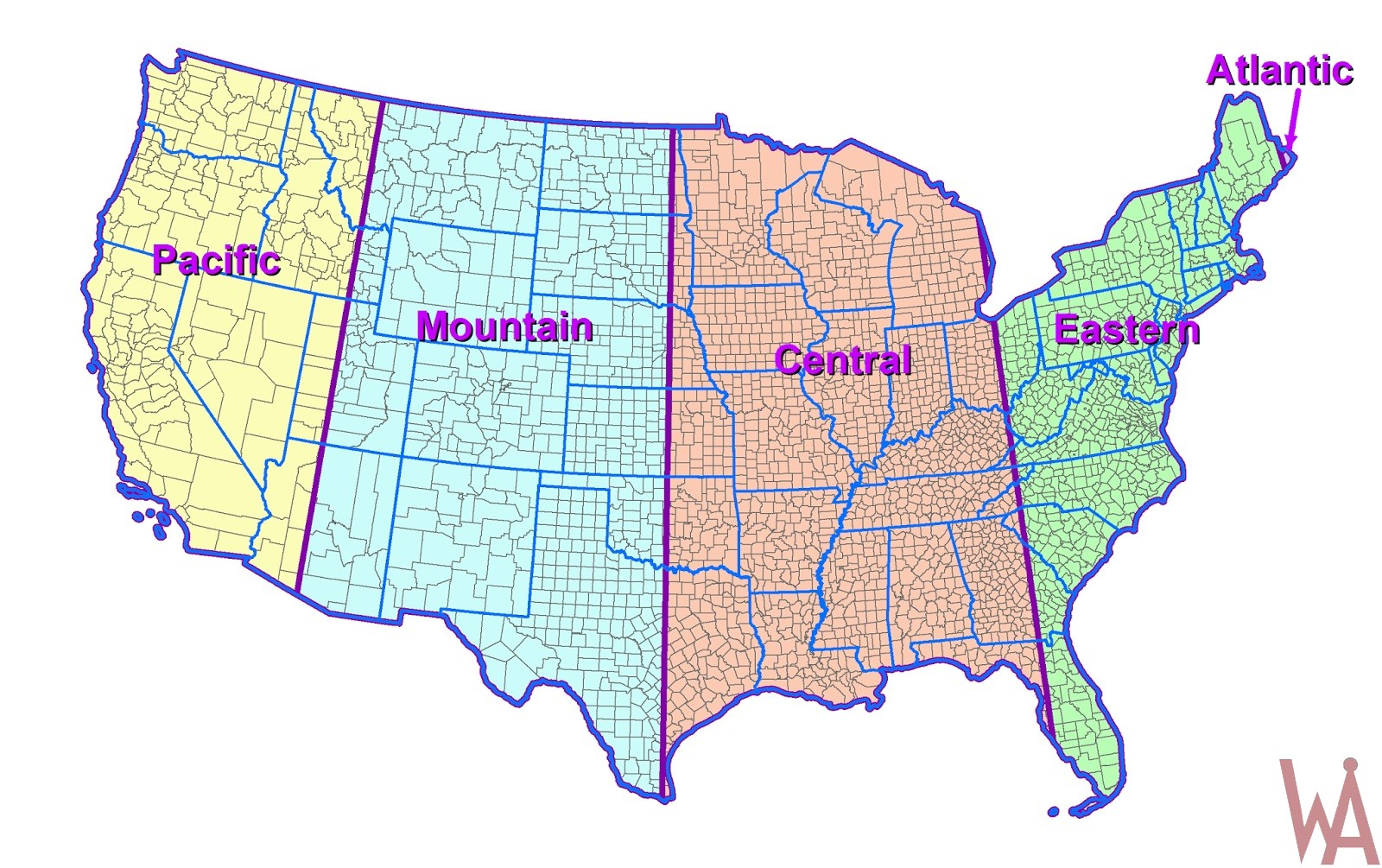 Picture of: Colorful Time Zone Map Of Usa Whatsanswer