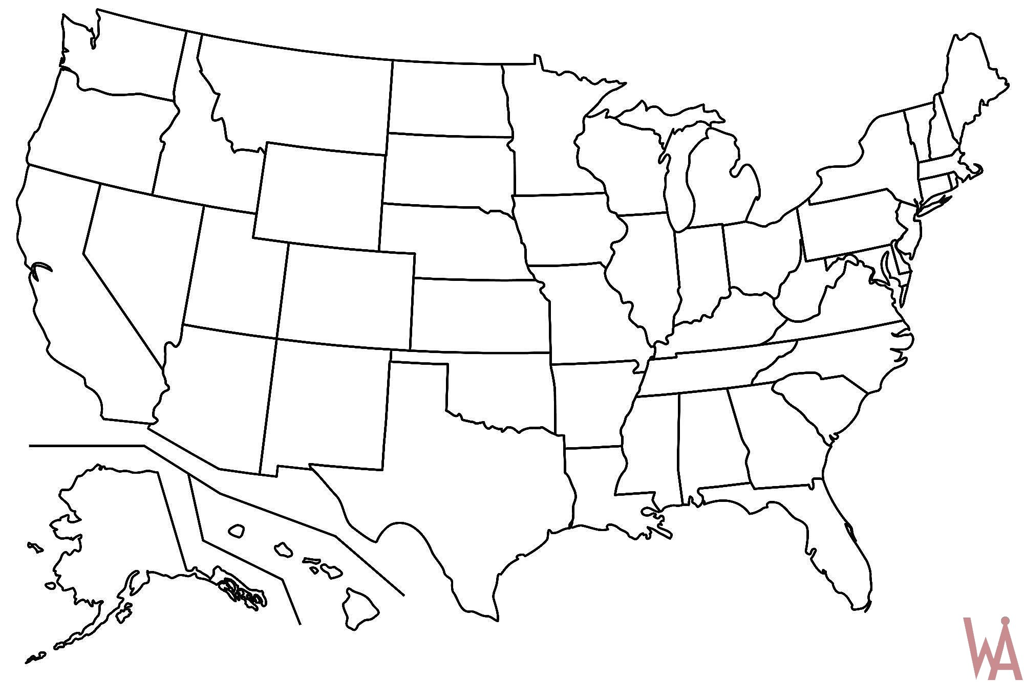 Outline Map Of Usa Outline Maps Of The USA | WhatsAnswer