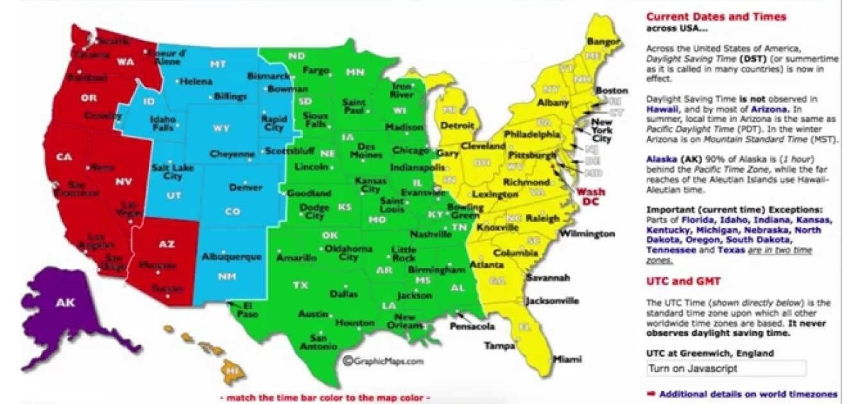 Dst Utc Gmt Time Zone Map Of The Usa Whatsanswer