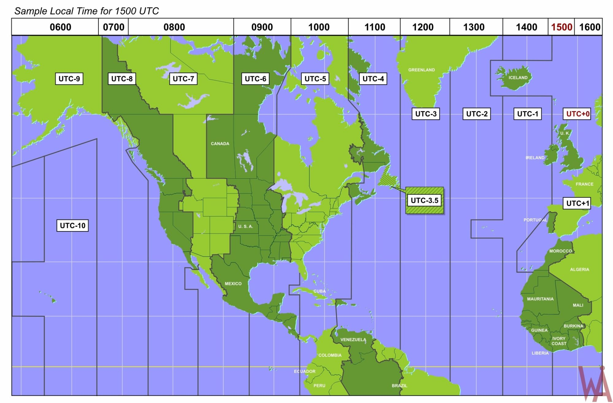Detail Time Zone Map of North America