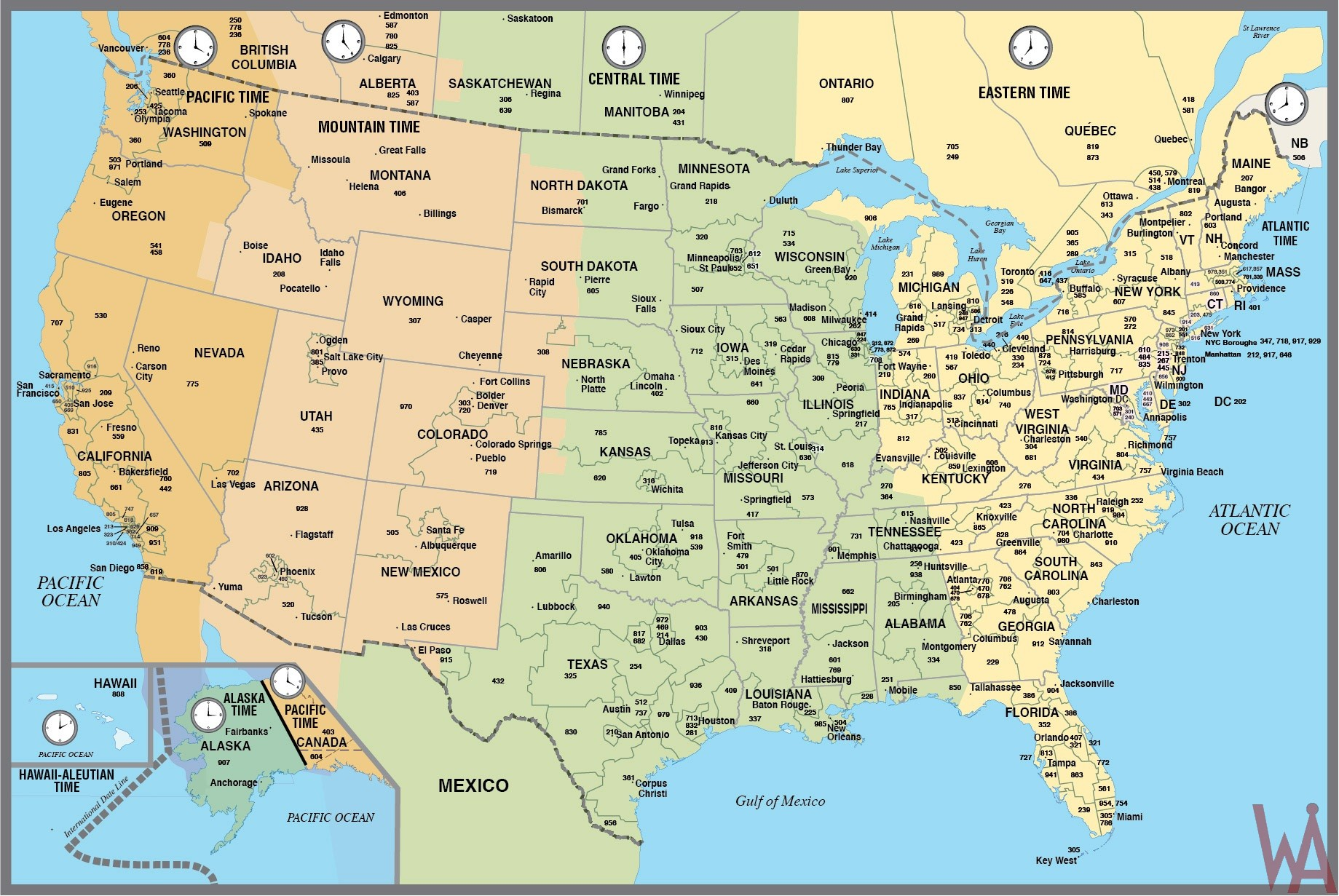 Eastern time comprises of eastern standard time (est) and eastern daylig. Details And Large Time Zone Map Of The Usa Whatsanswer
