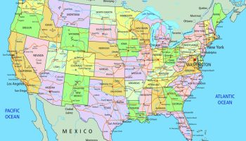 A Large Map Of The United States.Large And Attractive City Capital And States Map Of The Usa
