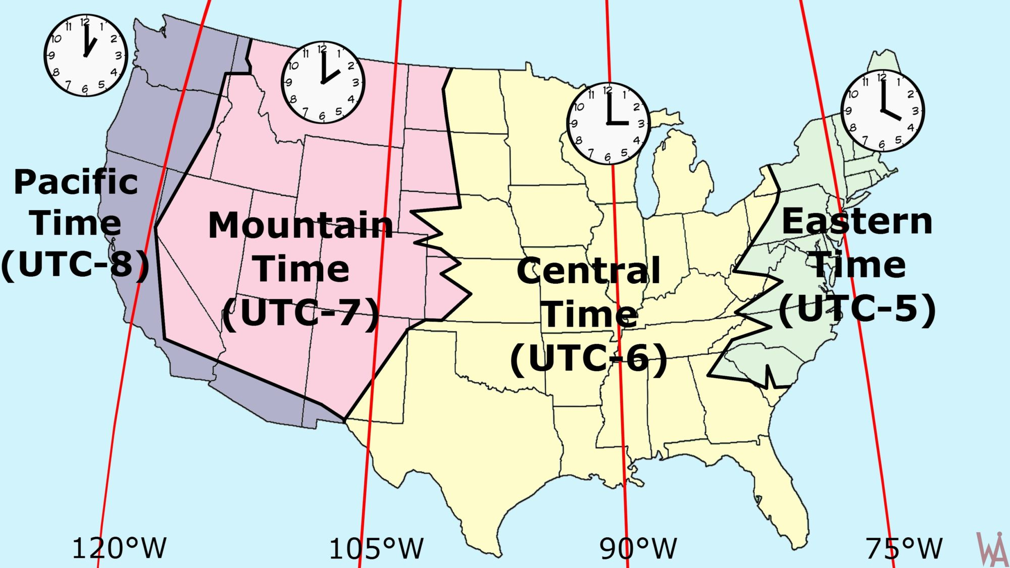 To faciltiate the millions of phone users, the united states of america is divided into regions known as area codes, corresponding to particular geographic telephone dialing areas. Time Zone Map Of The Usa Most Popular Time Zone Map Whatsanswer