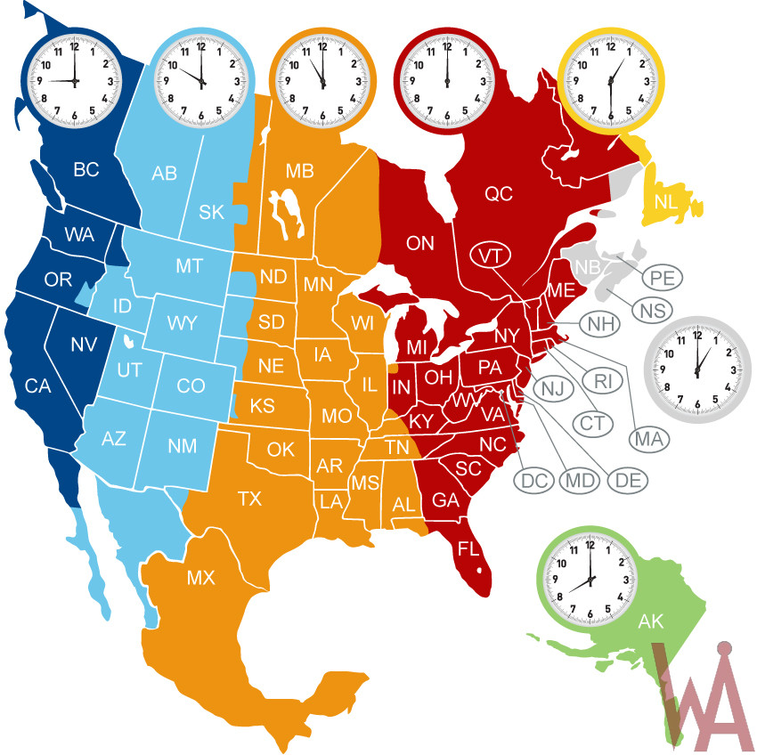 Map Of North America Time Zones.Time Zone Map Of North America Whatsanswer