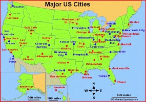 One Color Large Cities Map Of The USA | WhatsAnswer
