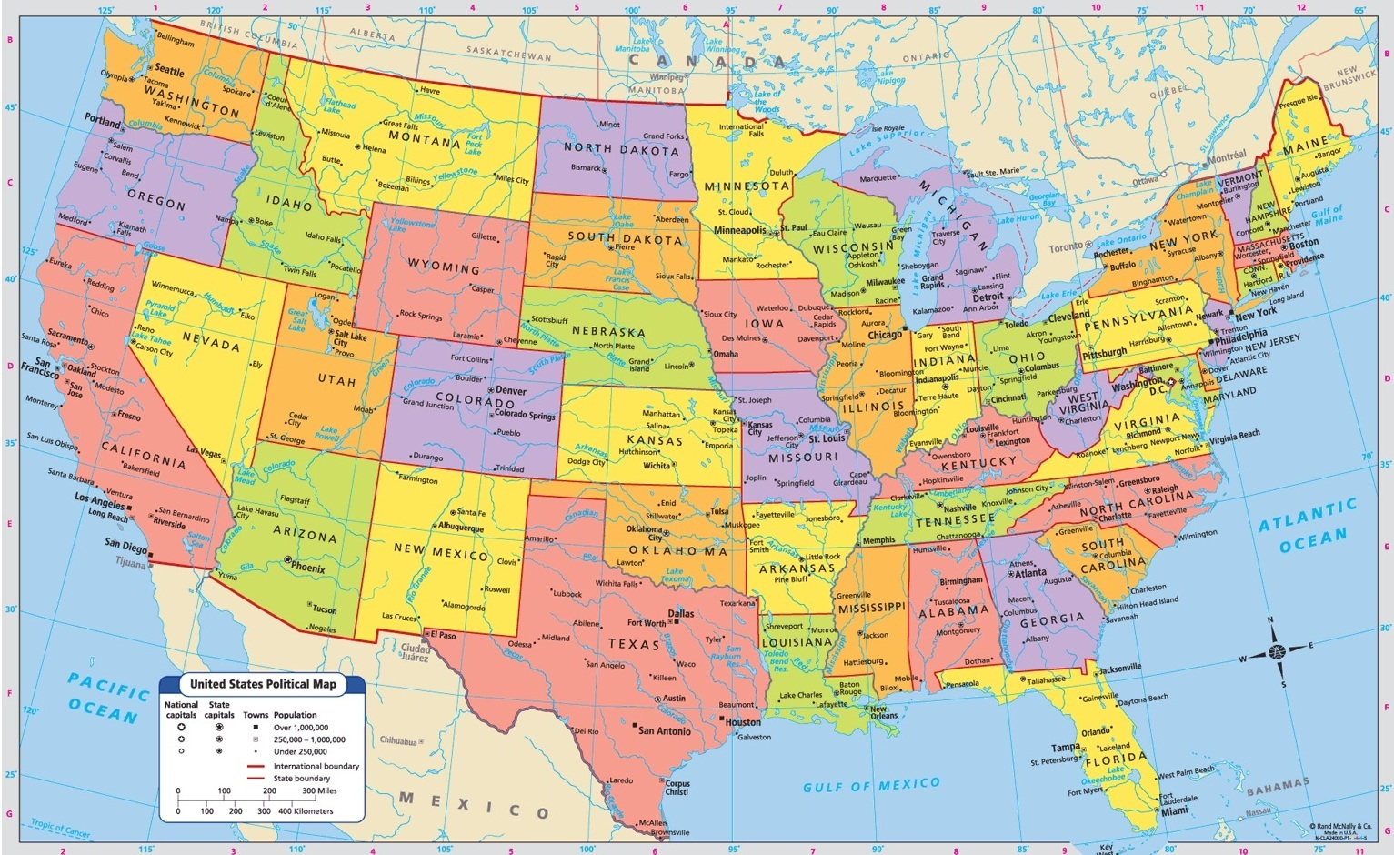 Image of: Printable Large Attractive Cities State Map Of The Usa Whatsanswer