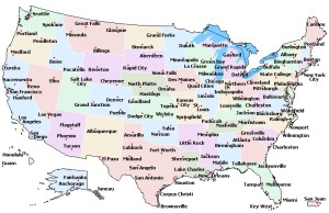 State Name Capital And cities Map of the USA