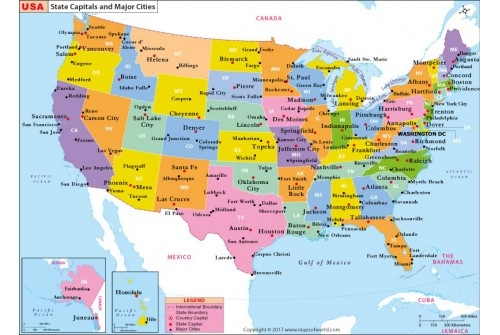 States Capital And Major Cities Map of the USA