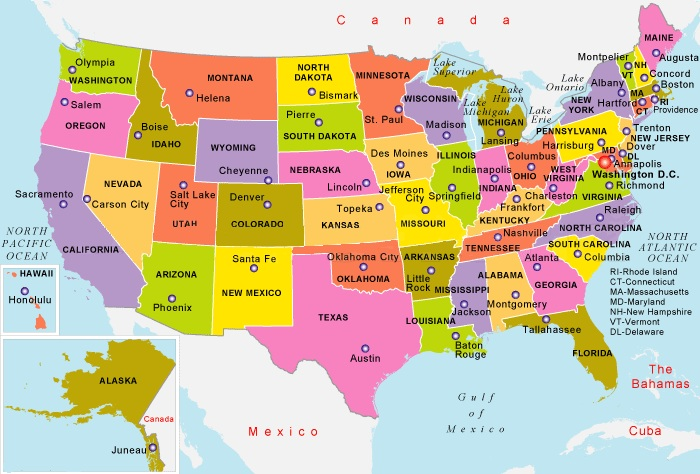 States Map With  Capital of The USA