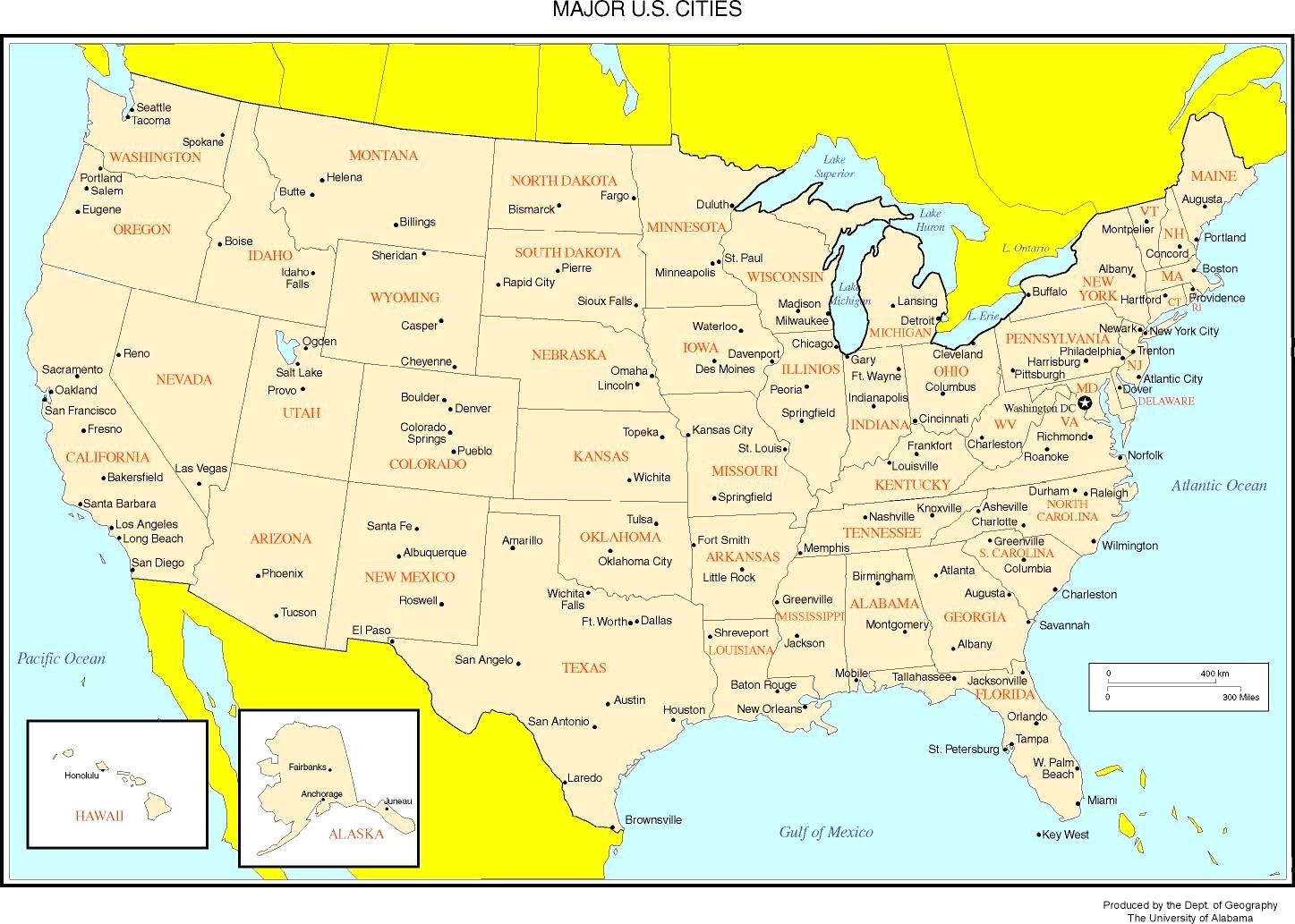 Map Of Usa Major Cities States Major Cities Map Of The USA | WhatsAnswer