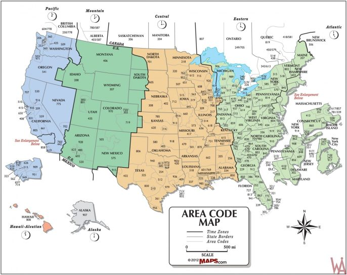 The Map of Time Zone & Area Code of the USA   WhatsAnswer