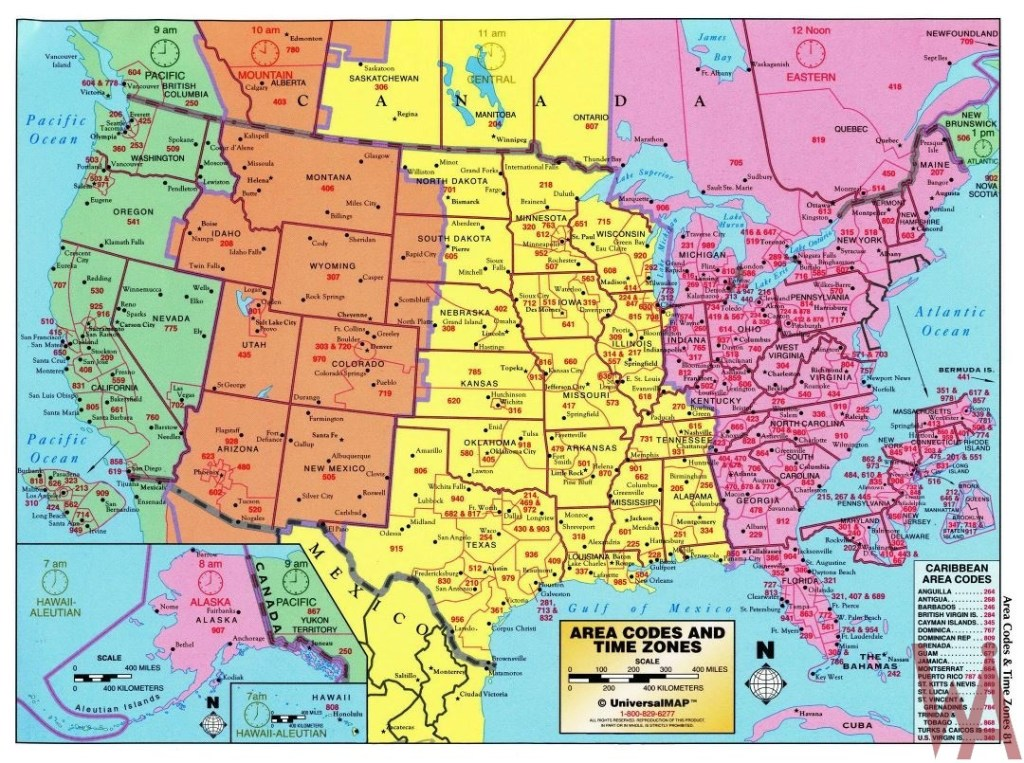 The large detailed map of area codes and time zones of the USA ...