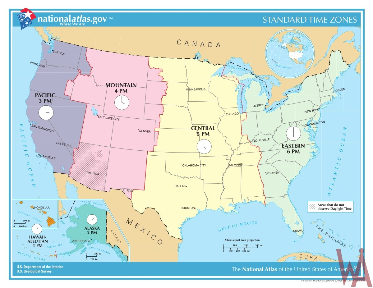 Time Zone Map of the USA
